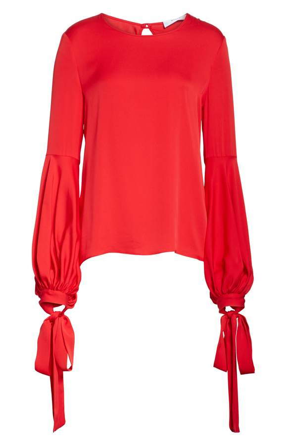red silk top