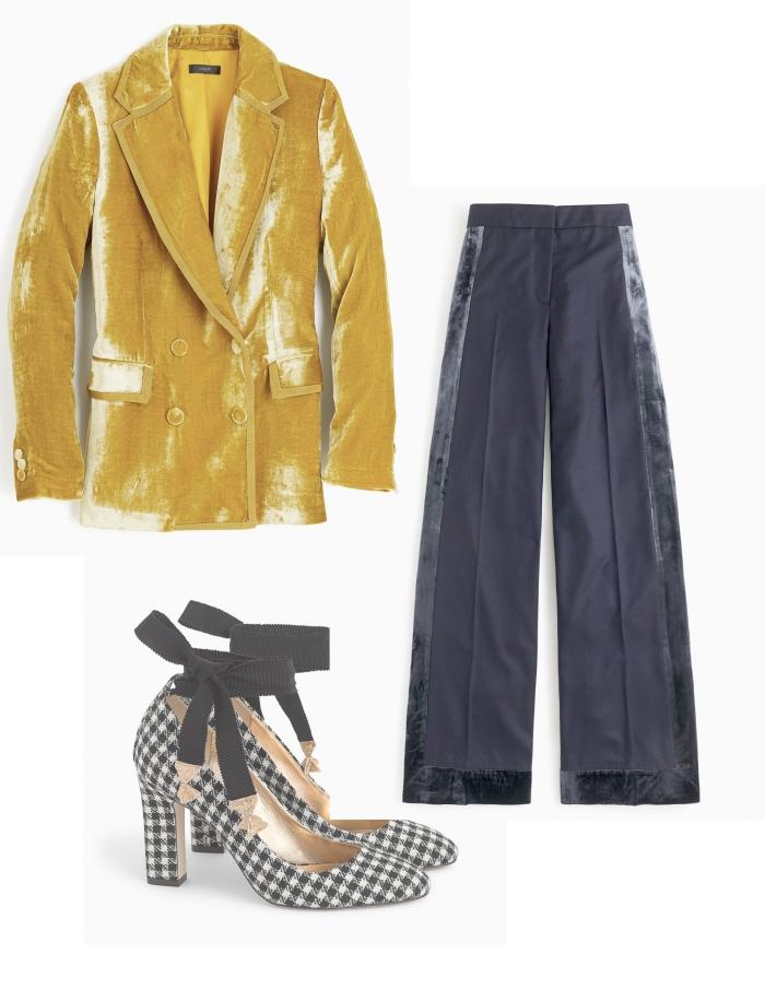 gold velvet outfit