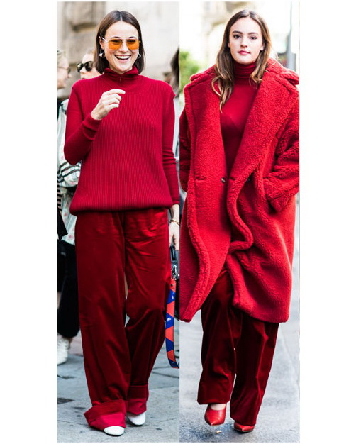red velvet pants and red coat