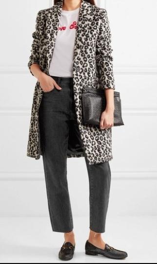 black jeans leopard coat
