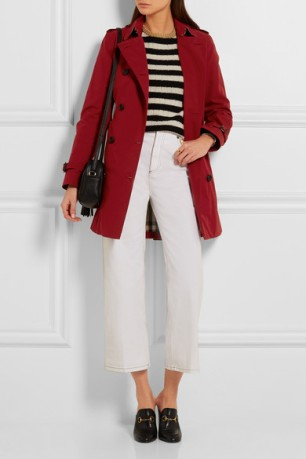 white jeans and trench
