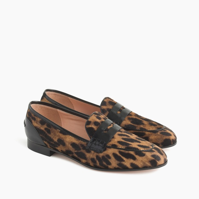 Academy penny loafers in leopard calf hair